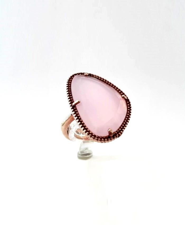 Anel Prata C/Pedra Rosa