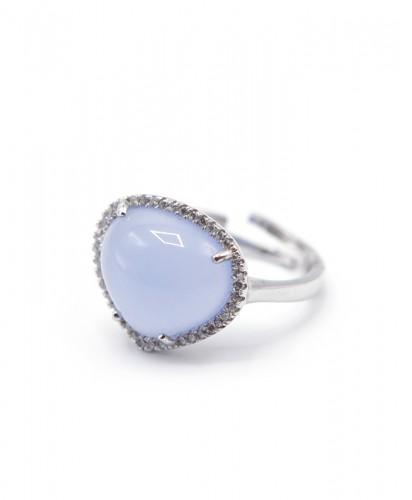Anel Prata Pedra Azul