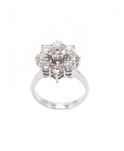 Anel Ouro Nove Diamantes