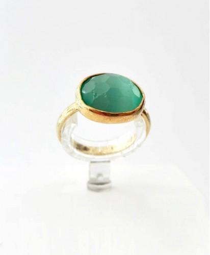 Anel Prata C/Pedra Verde