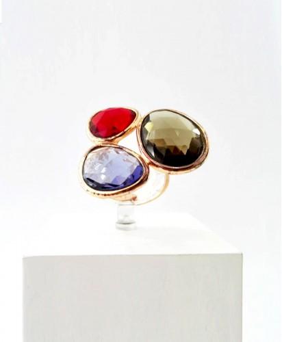 Anel Prata Três Pedras