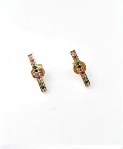 Brincos Dourados Multicolor
