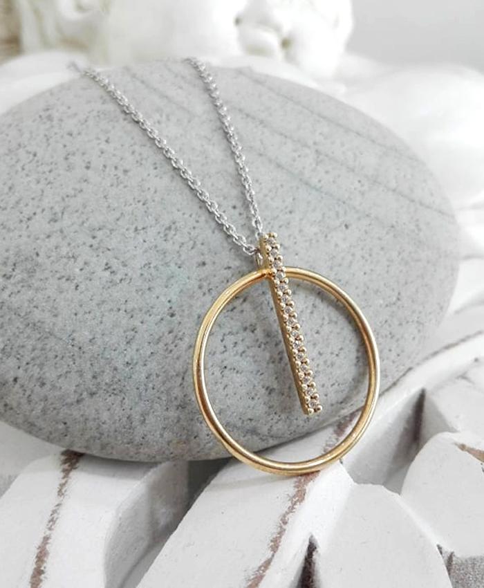 Fio Prata Circulo Dourado