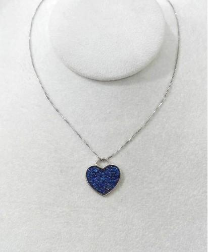 Fio Prata Coração Azul