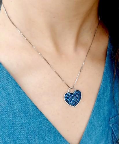 Colar Coração Azul