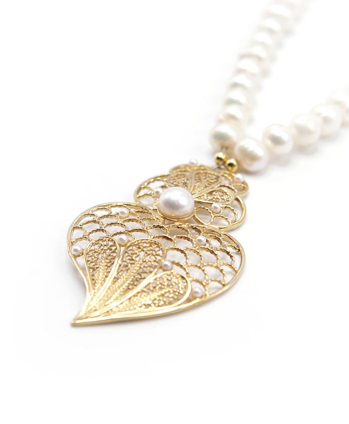 Colar Pérolas Coração Prata Dourada